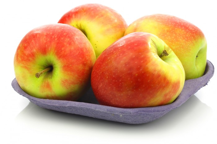 "fresh new apple cultivar called ""Pink Lady"" on a tray on a white background"